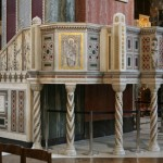 The ambo of Westminster Cathedral, London. Note the empty space below, an image of the empty tomb.